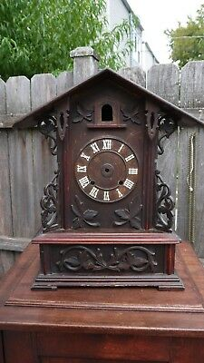large antique german black forest carved shelf cuckoo clock case only