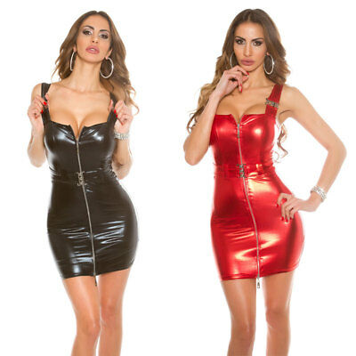 Square Neck Bodycon Leather Look Mini Dress KouCla GoGo Style With Buckle & Zip