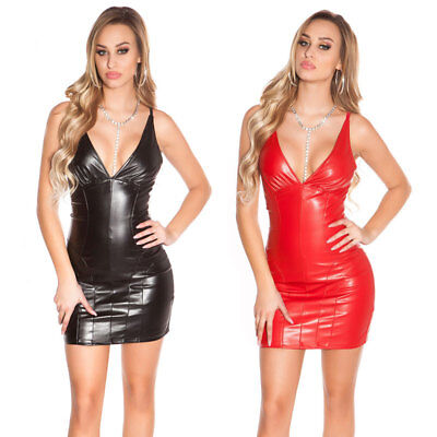 KouCla Leather Look Mini Dress Strappy Plunge Bodycon Black Red