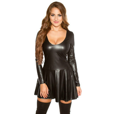 KouCla Leather Look Skater Dress Long Sleeves - Black
