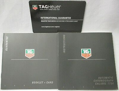 TAG Heuer Automatic Chronograph Calibre 7750 Watch Instructions & Guarantee Card