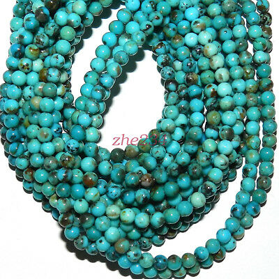 """Natural Blue Turquoise 6mm Round Gemstone Beads 15""""beauty"""