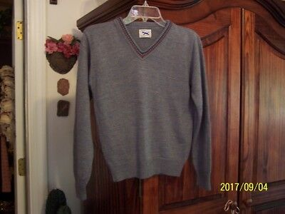 Vintage The FOX size 16 Boys or Girls Blue and Gray V-Neck Sweater JC Penney