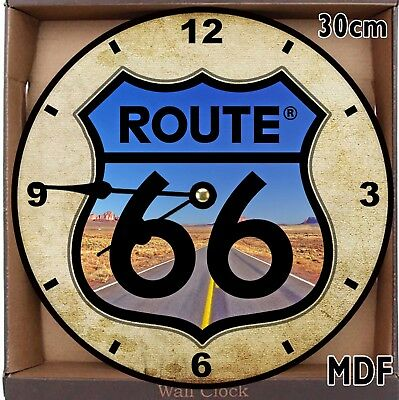 Historic ROUTE 66 Large 30 cm MDF WOOD Wall Clock Can be personalised #2