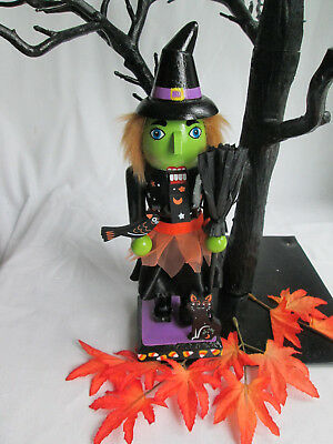 """9.5"""" Halloween Wooden Nutcracker - Witch with Broom, Bird and Black Cat, New"""