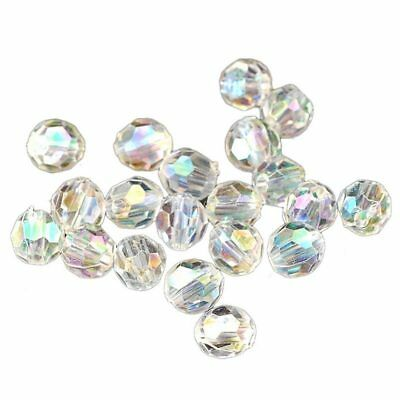 500x Transparent AB Color Round Faceted Acrylic Spacer Beads 6x6mm Dia Q3I5