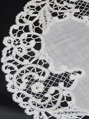 7 Antique Lace Placemats Linen Handmade Table Mats Bobbin Edging Cream Round