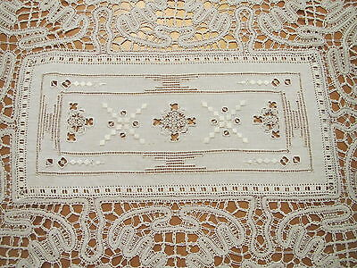 Antique Placemats Italian Embroidered Set 10 Table Mats Linen Lace Cutwork