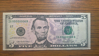 2006 $5 note low serial number! :00000006: ULTRA LOW!!