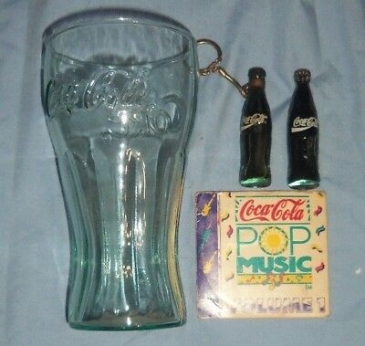 Rare Lot 4 Items Coca Cola Collectibles Glass,bottle, Pop Music Cd,key Chain