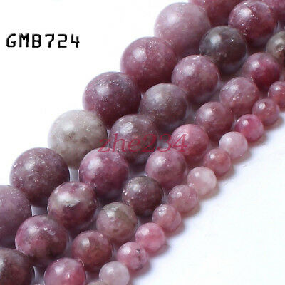 "Natural Stone Lepidolite Gemstone Jewelry Making Loose Beads Strand 15"" 6mm #"