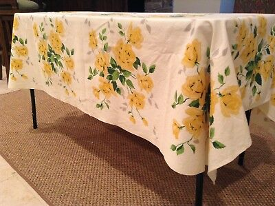"70"" x  53"" Vintage WILENDUR Tablecloth Yellow rose w green and grey cream back"