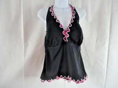 85b037c634 Profile by Gottex Swimsuit Tankini Top Womens Plus Size 18W Halter Black  $122.00