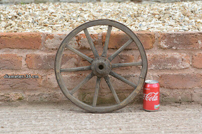 Vintage old wooden cart wagon wheel  / 36 cm - FREE DELIVERY