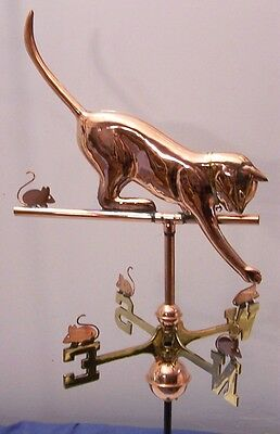 Beautiful full size Cat copper and brass weathervane with mount and all parts.