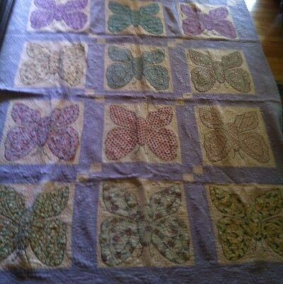 Antique Vintage RARE Butterfly Quilt Hand Stitched ~ 78 x 61 Inches
