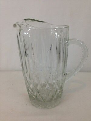 Vtg Crystal Solid Heavy Glass Water Pitcher