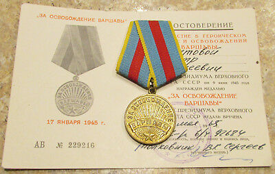 Soviet Russia USSR MEDAL w/Document For the Liberation of Warsaw