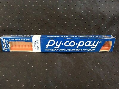 Vintage 1960s Py-Co-Pay Toothbrush Medium Bristles Rubber Tip Sealed Pycopay New