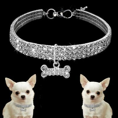 Crystal Diamante Pet Cat Dog Collars Fancy Bling Rhinestone Dog Necklace