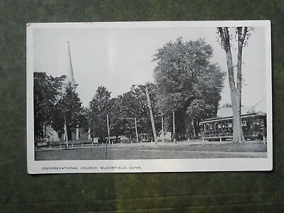 Post Card  G85588  Bloomfield, CT  Congregational Church with Trolley  c-unknown
