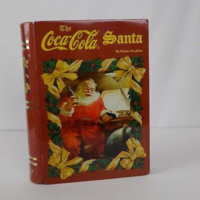The Coca-Cola Santa by Haddon Sundblom Book Shaped Tin Container Opens Storage
