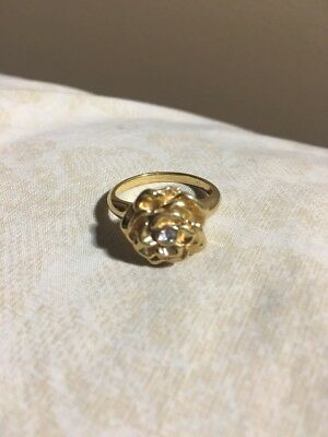 Vintage Rose Flower Gold Plated Ring Rhinestone Size 7.75 Beautiful