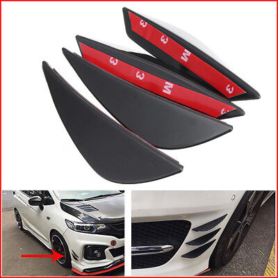 4x For Front Bumper Lip Splitter Universal Fins Body Spoiler Canard Valence Chin