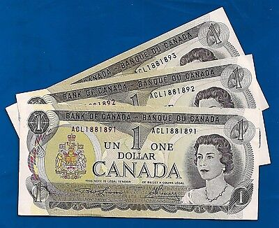 THREE 1973 CANADA consecutive 1 ONE DOLLAR BILLS NOTES prefix ACL CRISP UNC
