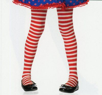 Leg Ave 4710 Girls' Striped Tights Red White Santa Elf Toy Costume Child L or XL