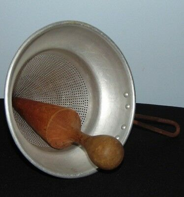 Vintage Strainer Juicer With Wood Pestle For Canning Country Kitchen Colander