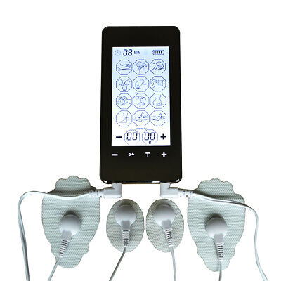 TENS EMS 2 channel Screen smart 12mode ElectroTherapy machine pulse massager LED