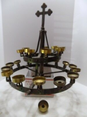 "Antique Hanging Candle Lamp Brass  2"" Candles Holds 24 Candles religious (R-11)"