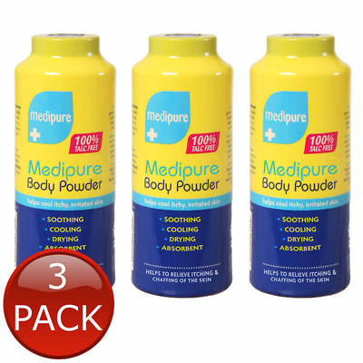 3 x MEDIPURE SOOTHING BODY POWDER TALC FREE MEDICATED TREATMENT ITCHY SKIN 200g