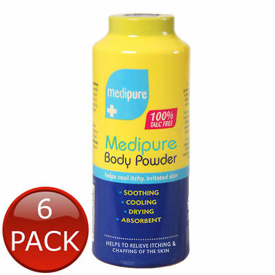6 x MEDIPURE SOOTHING BODY POWDER TALC FREE MEDICATED TREATMENT ITCHY SKIN 200g