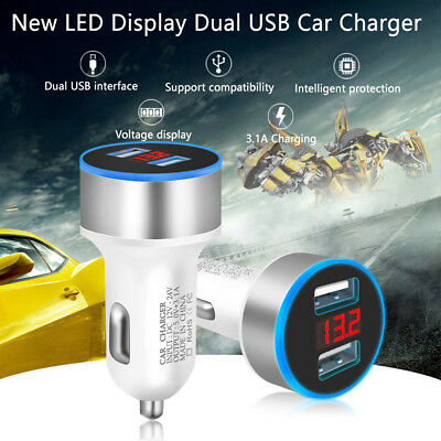 Mini LED Display USB 2Ports 3.1A Universal In Car Lighter Socket Charger Adapter