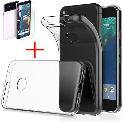 Geniune Tempered Glass Protector Film Soft TPU Case Cover For Google Pixel 2/2XL