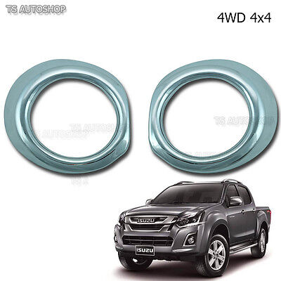 FITT CHROME RING FOG LAMP SPOT LIGHT COVER FOR ISUZU D-MAX DMAX 2014-2015 TRUCK