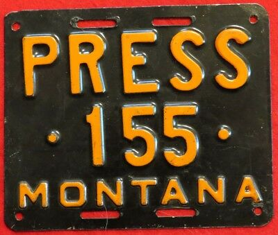 Montana Press 155 Special License Plate or License Plate Topper, Orange on Black