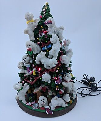 Danbury Mint The Bichon Frise Christmas Tree Bichons Puppy Dogs Statue 11.5""