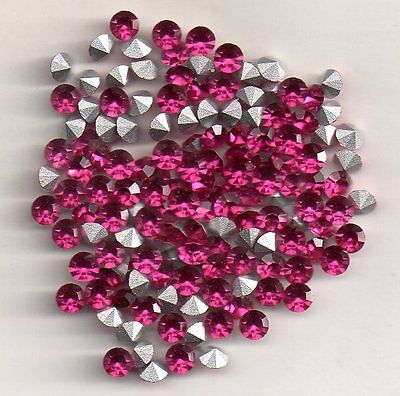 50 Strass Rond Pp31 - 3.8  Mm - Fushia Silverfoiled