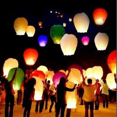USA 50pcs Mix Color Chinese Paper Lanterns Sky Fire Fly Candle Lamp Wish Wedding