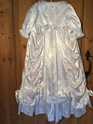 """Dormouse"" Girl's Christening Dress White Satin Effect + Bows Frills Age 2 Years"