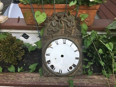 Lovely Brass Repoussé Antique French Enamel Clock Face Signed