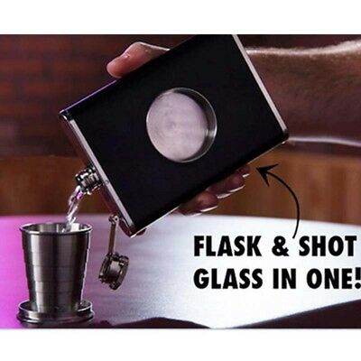 8oz Pocket Flask Collapsible Shot Glass Stainless Steel Screw Cap Hip + Funnel