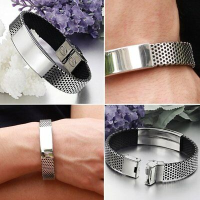 Men Bracelet Wristband Black Leather Silver Stainless Steel Cuff Braided Bangle
