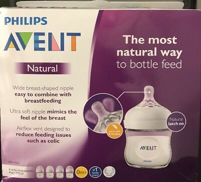 Philips Avent Natural Baby Bottle, Clear, 4oz, 4pk,4 Piece