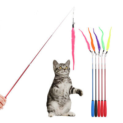 Funny Cat Kitten Toy Mouse Teaser Wand Feather Rod Pet Play Toys Interactive DIY