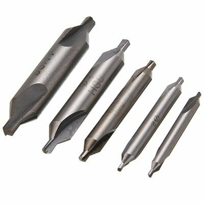 5pcs HSS Combined High Speed Center Drill Countersink 60 Degree Angle Bit Set