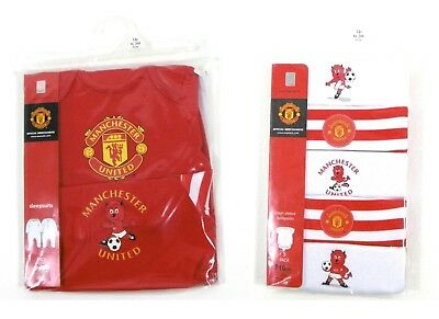 Manchester Utd United Football Club FC 5 2 Pack Sleepsuits Bodysuits Baby